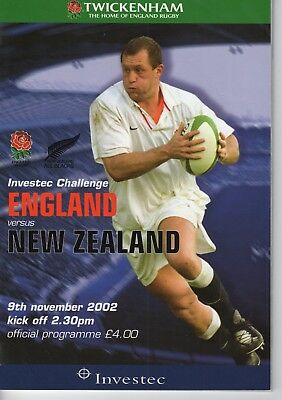 Programme Rugby Union England v New Zealand 9.11.2002 @ Twickenham