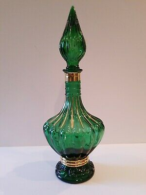 Vintage Genie Glass Decanter Italy Mid Century 1960's Green / Gold Hand Painted