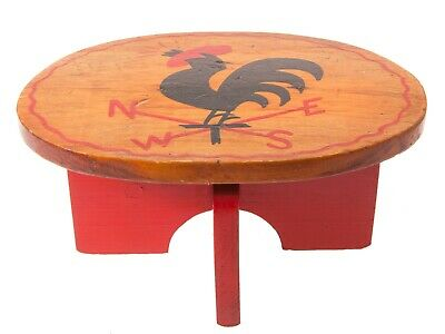 FREE SHIP: Vintage Wood Stool-Primitive Hand Crafted Painted Solid Wood