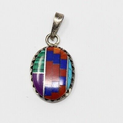 Sterling Silver SOUTHWESTERN Turquoise Malachite Coral Lapis Inlay Oval Pendant