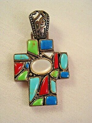 STERLING SILVER Crucifix Pendant Mosaic TURQUOISE LAPIS MOTHER OF PEARL CORAL