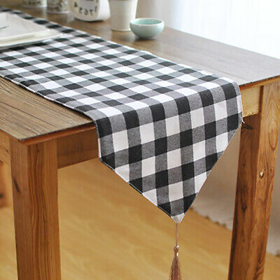 Nice Table Runner Black White Plaid Design Cotton Linen Table Cover for Picnic