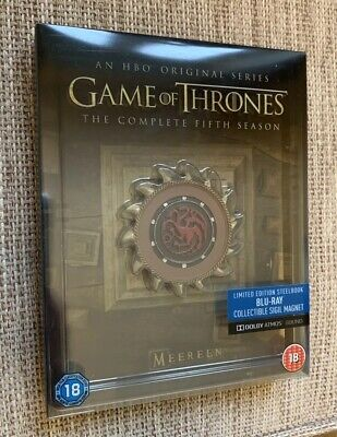 Game Of Thrones Season 5 Blu Ray Steelbook Mint Condition with Sigil magnet!