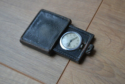 Antique Ralco Movado travel clock. Ralco leather cased watch, pocket watch.