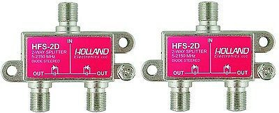 Lot 2 Holland HFS-2D Coax Cable 2-Way Splitter 5-2150Mhz Dish CATV SATV CCTV HD