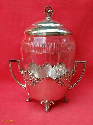 ANTIQUE / VINTAGE WMF SILVER PLATE & CUT GLASS BISCUIT BARREL BOX or COOKIE JAR