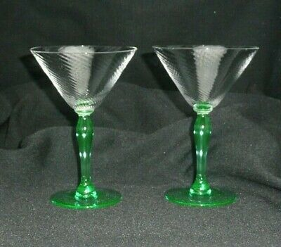 Vintage SPIRAL OPTIC Green Stem and Foot Set of 2 Champagne Tall Sherbet Glasses