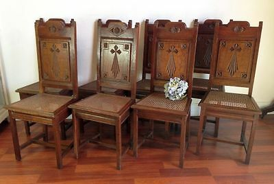 Antique French Church Dining Chairs Rare Set of Eight 8 Oak  - BK65
