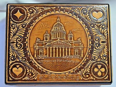 Vintage St Petersburg Russia Carved Wood Playing Card Jewelry Stash Box 2 Sction
