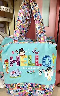 Disney Parks It's A Small World Hello Tote Canvas Bag Purse With Zipper