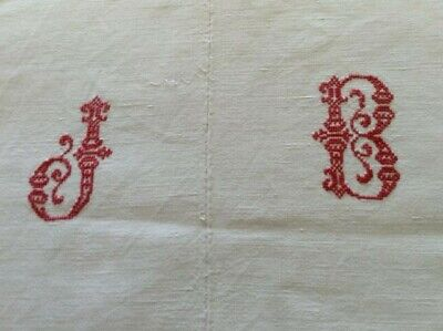 Antique large French heavy metis bed sheet, with red embroidered initials