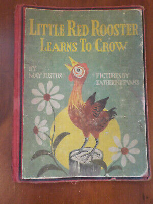 vintage children's book Little Red Rooster Learns to Crow, hardcover, 1954
