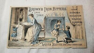 Victorian Era Brown's Iron Bitters Medicine Advertising Ink Blotter/ Trade Card
