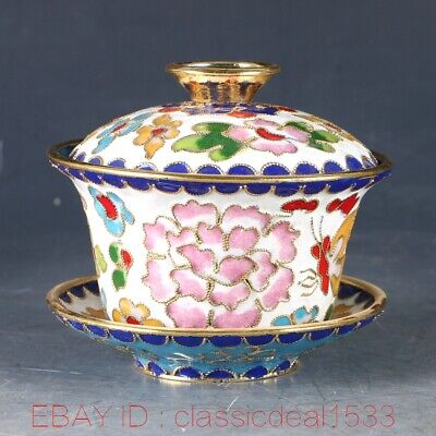 Exquisite Chinese Cloisonne Handwork Carved Flower Cup MY0018
