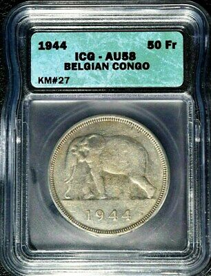 MS 61 SLAB BELGIAN CONGO SILVER AFRICAN ELEPHANT 50 FRANCS COIN of 1944 KM # 27
