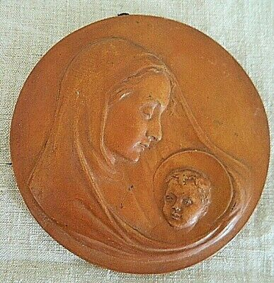 Vintage Original Virgin Mary W Jesus Plaque Signed   Robert Mermet Terracotta