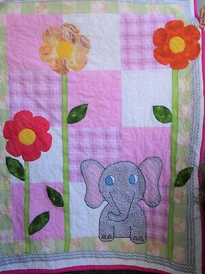 Elephant in Pinks for Baby Girl Quilt