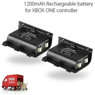 2X 1200mAh Rechargeable Battery Pack for Xbox One Controller With Charging Cable