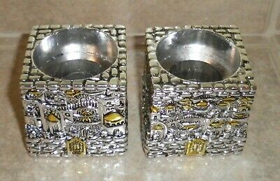 "PAIR Karshi .925 Jerusalem 1955 Silver Plated  2"" Candle Holders"
