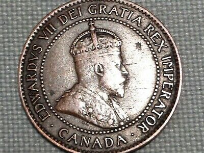 Canada 1 Cent 1906 Crowned King Emperor Edward VII Maple Leaves