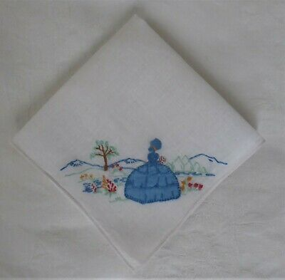 Retro Vintage Dolly Varden White Cotton - Embroidered Hanky Handkerchief