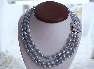 Vintage Genuine Freshwater Baroque Pearl Necklace Antique Dress Jewellery