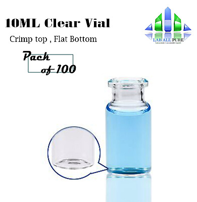 20Mm Crimp Top 10Ml Volume Gc Vials Flat Base Clear Fits All Gc Instrument X100