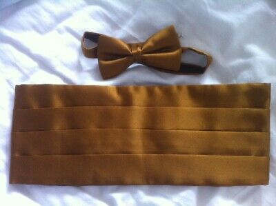 Cummerbund & Bow Tie Gold Set For Black Tie Dinner Tuxedo Wedding Prom Satin