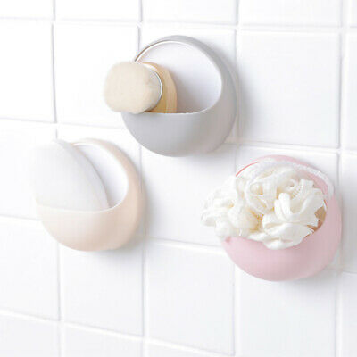 Plastic Suction Cup Soap Toothbrush Box Soap Dish Holder Wall Mounted Bathroom