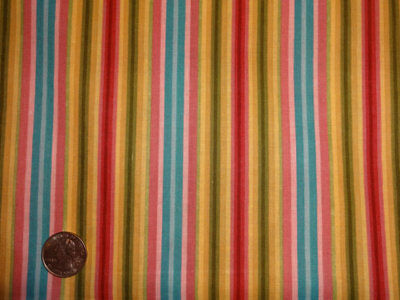 CLEARANCE Blue Rose Gold Green Stripe Cotton Quilting Fabric BTY by the yard