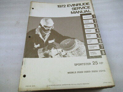 1972 EVINRUDE 25 HP Sportster Outboard Motor Service Manual
