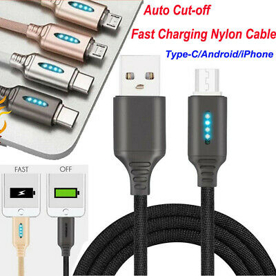 Auto Power Off Cable Mobile Phones Smart Disconnect Fast Safe Charging Cord 1M