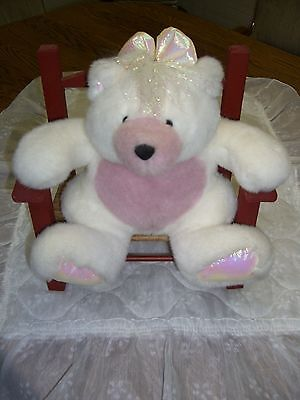"""Vintage Bear in a Wooden Arm Chair/Wicker Seat/Redwood Finish/12"""" W x 12"""" H"""