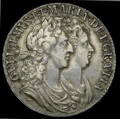 1689  VF William and Mary Silver Half Crown ESC 510 2nd Shield.