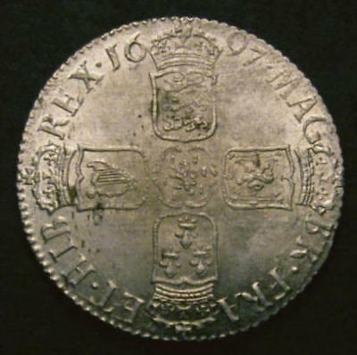 1697 AUNC Shilling William III CGS 75 ESC 1102 MS62-63