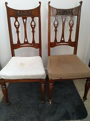 2 antique vintage wooden chairs hand carved castors arts & crafts need upholster