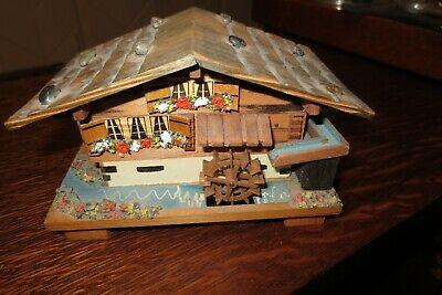 Vintage Handcrafted Wooden Swiss Chalet/Cabin Music Box Moving Waterwheel Plays