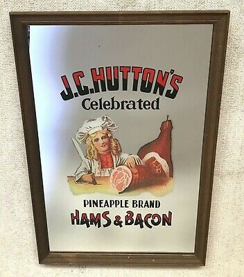 Vintage J.c. Hutton's Celebrated Pineapple Brand Framed Printed Mirror Art Bar