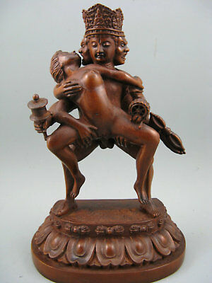 Antique Chinese Boxwood Hand Carving Big Buddha Statue Figure Home Decoration
