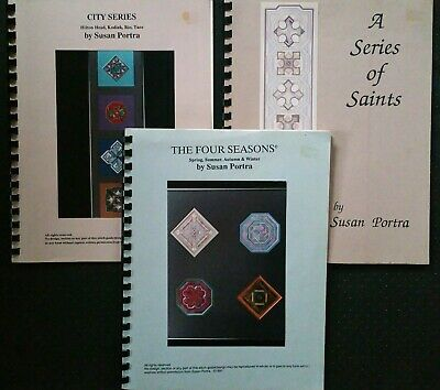Susan Portra Needlepoint Pattern Book Lot (3) ~ City Series, Saints, 4 Seasons