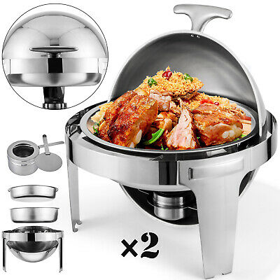 2 Pack Catering Stainless Steel Chafer Chafing Dish Sets 6Qt Round Buffet