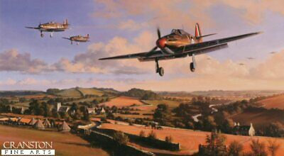 Battle of Britain aviation Art Print  Hawker Hurricane 87 Squadron Pilot signed