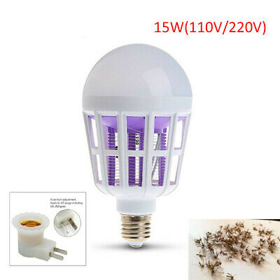 LED Bulb Anti-Mosquito Insect Zapper Fly Moth Killer E27 15W Light lamp electric