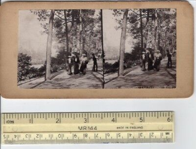 Antique Victorian Edwardian Girls The Invalids Walk Bournemouth UK 3D View Card