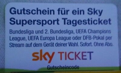 Sky Supersport Tagesticket Gutschein (Wert: 9,99€) *SORFORTVERSAND*