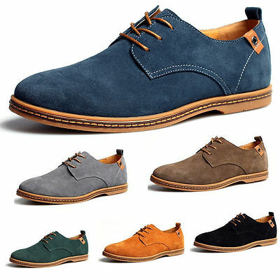 NEW Mens Suede Shoes Dress Formal Oxfords Lace Up Casual Flats Loafers