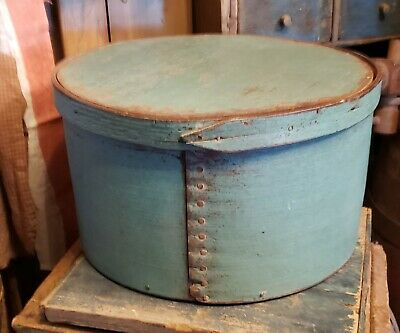 Amazing Early Antique Pantry Box In Best Old Robbins Egg Blue Paint