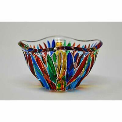 Murano Glass Fire Bowl - Hand Painted Made In Italy Home &amp Kitchen
