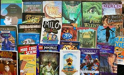 Lot 25 Scholastic Home School  AR Chapter Books Wings of Fire 39 Clues Merlin