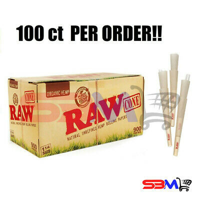 RAW ORGANIC 1 1/4 Cones Unbleached Hemp Pre-Rolled w/ Filter - 100 Pack